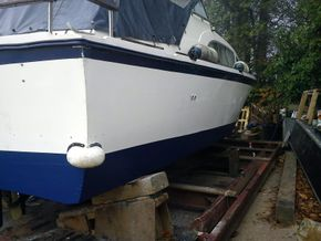 Remove high paint, compound, polish, re-antifoul and ready to go back in the water. What a differenc