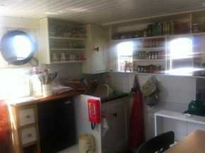 Galley work area - sink, full size gas cooker/oven and dual voltage fridge