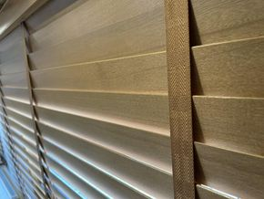 Custom made taped blinds throughout