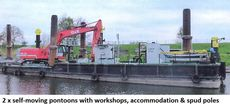 UNPROPELLED EXCAVATOR CRANE PONTOON