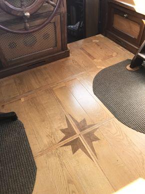 Inlaid oak floor in wheelhouse