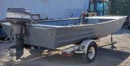 1996 18′ x 8′ Aluminum Landau Workboat w/40hp Mariner & Trailer