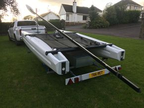 Boat comes on its own custom trailer with large gear box