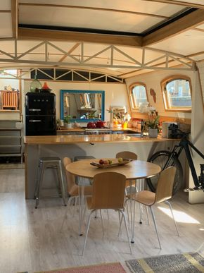 Interior boat kitchen roof closed