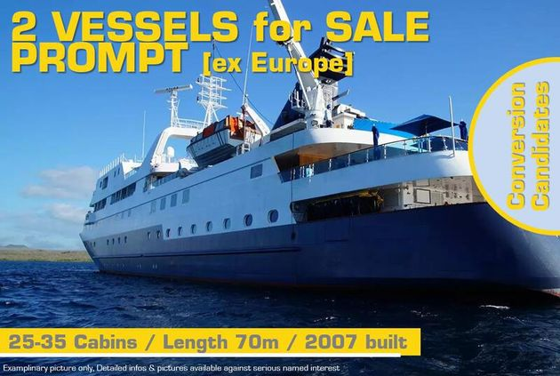 70m / Small Cruise Vessel (Conversion) for PROMPT Sale / #439F