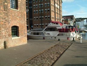 Nestled in Gloucester dock