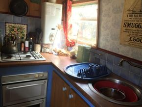 kitchen on port side of the boat