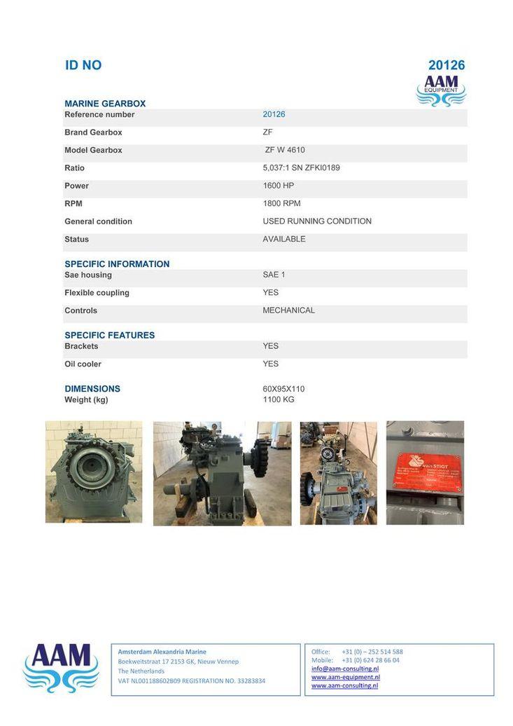 MARINE GEARBOX ZF W 4610 Ratio 5,037:1 SN ZFKI0189