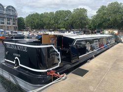 Widebeam on Zone 2 London Mooring South Dock Marina Canada Water
