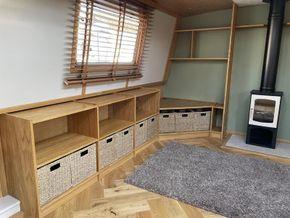 Bespoke oak storage units and shelving