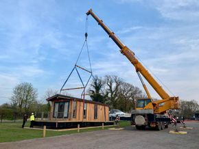 Complete lodge furnished craned into location