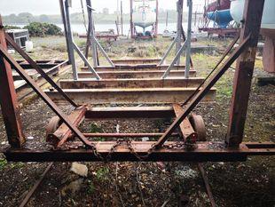Heavy Duty Yard Trailer on Metal Wheels
