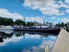 Large Dutch Barge on London Mooring