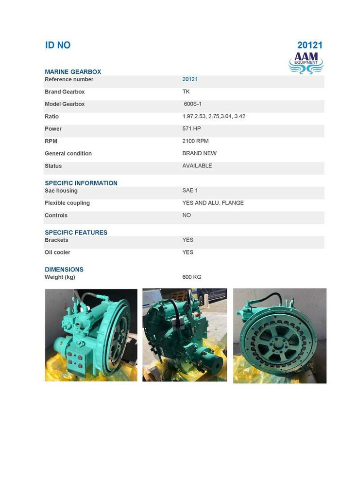GEARBOXTK 600S - 571 HP @ 2100 RPM - RATIOS 1.97,2.53, 2.75,3.04, 3.42