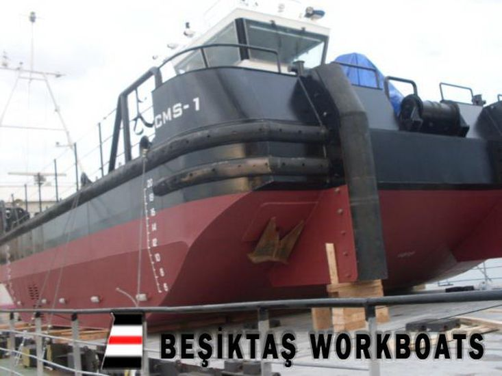 SHALLOW DRAFT MULTICAT  WORKBOAT WITH DECK CRANE AND LARGE DECK SPACE