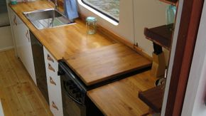 Oak counter top and cooker cover