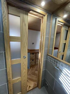 Obscure glazing, oak sliding door