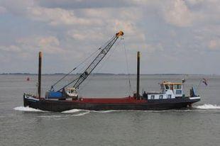 Crane barge dredger work boat