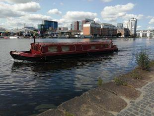 57x10.5ft. Widebeam barge, ideal liveaboard.