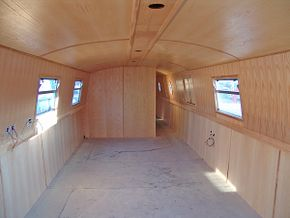 Rear bathroom bulkhead and saloon area