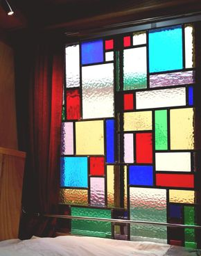 Stained glass sliding window