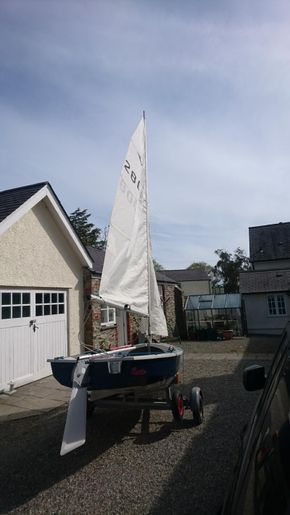 dinghy rigged-rear view