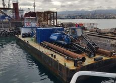 Self Propelled Barge 23m. with Crane