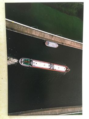 Passed by larger barge in Belgium