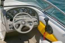 Crownline Bowrider 180 BR Standard dash features a handsome laser insert, full instrumentation, tilt steering wheel, 12V electrical outlet and Sony marine stereo with CD player