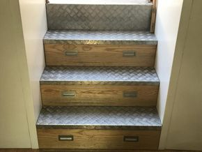Non-slip steel chequer plate steps with drawers
