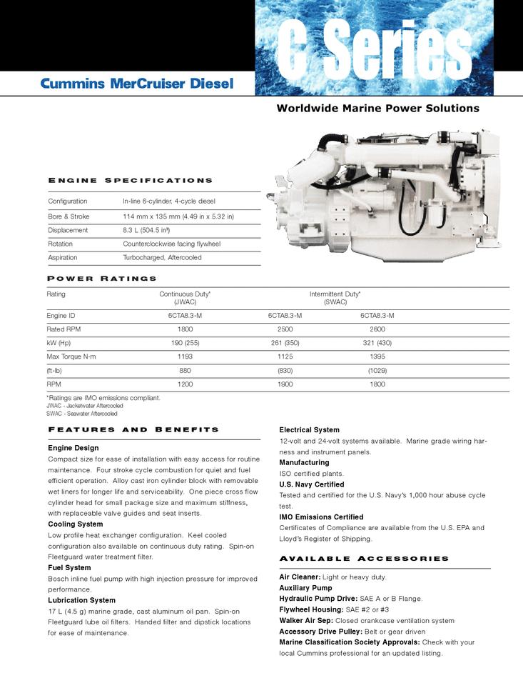 430 HP CUMMINS 6CTA8.3 REBUILT MARINE ENGINES
