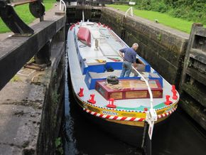 Pauline in lock on Leeds Liverpool canal