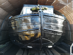 Recently welded and surveyed steel hull