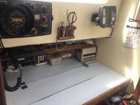 Chart table with Garmin gps and depth sounder