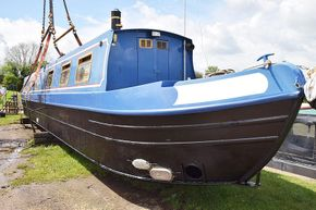 Recently blacked hull, with new anodes