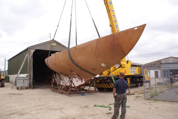 49ft Robert Clark Cutter steel hull fantastic project in progress