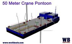 50 Meter Crane Barge  / Twin Spud / Accomodation