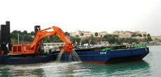 36 Meter Backhoe Dredger with 3 spud & flat top barge and tugboat