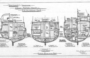 Classic wooden motor yacht Traditional one off build  - Layout Plan