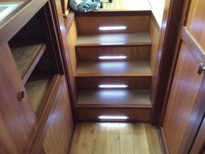 Lit steps from wheelhouse fore and aft