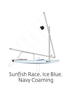 Sunfish Race, Ice Blue, Navy Coaming