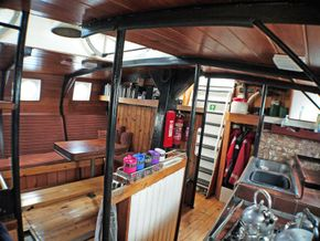 Looking aft in the saloon from the forward end of the galley