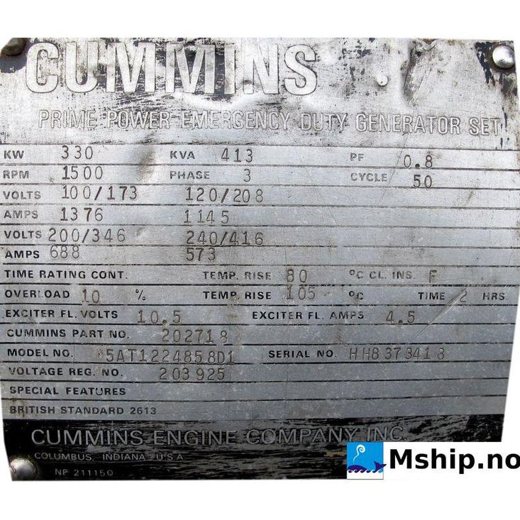 Cummins VT12-800-GC gen set 413 kWA