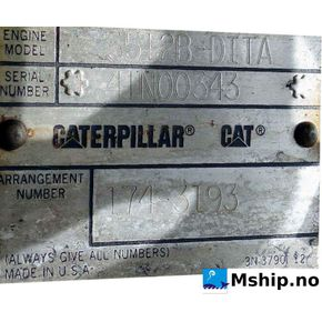 Caterpillar 3512B-DITA engine plate