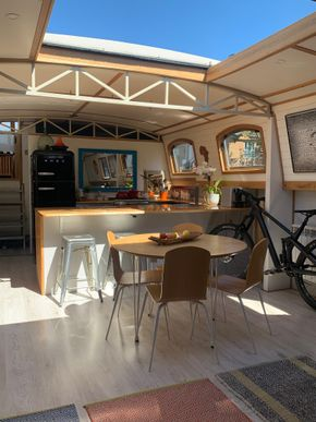 Interior boat kitchen roof open