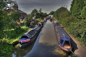 Offline moorings on the Newport Canal looking towards the dry dock