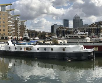 Barge with residential mooring in Limehouse Basin, London