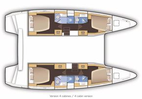 Manufacturer Provided Image: Lagoon 42 4 Cabin Layout