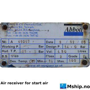 Air reciever for air starter data plate