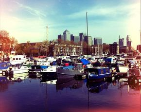 South Dock Marina and Canary Wharf in the background